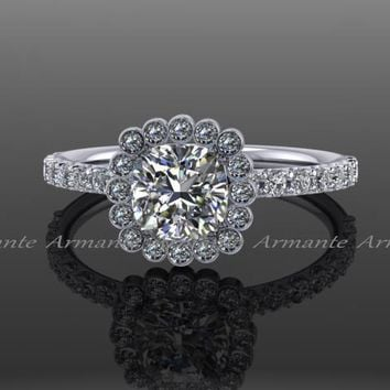Cushion Cut, Moissanite & Diamond Engagement Ring
