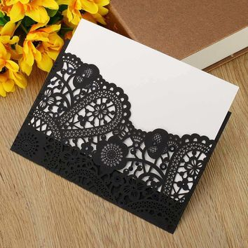 Invitation Card Romantic Wedding Party Envelope Lace Shape Delicate Red Black Yellow Carved Pattern Wedding Decoration Supplies