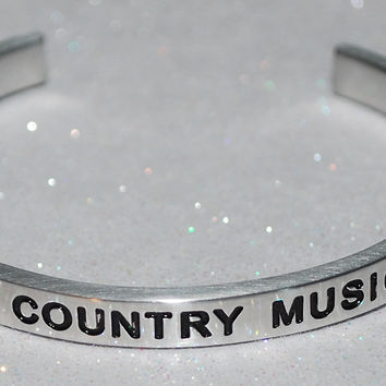 I Love Country Music  |  Engraved Handmade Bracelet By Say It and Wear It Jewelry