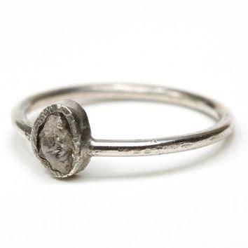 Dainty ring rough diamond in bezel setting with matte sterling silver design band
