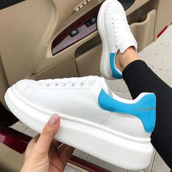 ALEXANDER MCQUEEN Fashion Woman Casual Sneakers Sport Shoes(Velvet Tail) Sky Blue
