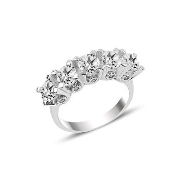 Womens ring flower 5 row cubic zirconia stones 925 sterling silver