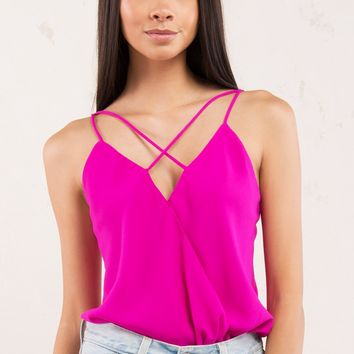 Criss Cross Neckline Camisole Top in Neon Berry, Black