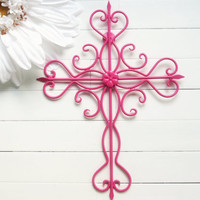 Home Decor / Metal Cross Wall Art / Pink Home Decor / Cross Decor / Cross Wall Decor / Cross Wall Hanging / Wall Art / Housewarming / Gift