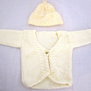 Toddler Sweater Hat Set Knit Yellow 18 to 24 months