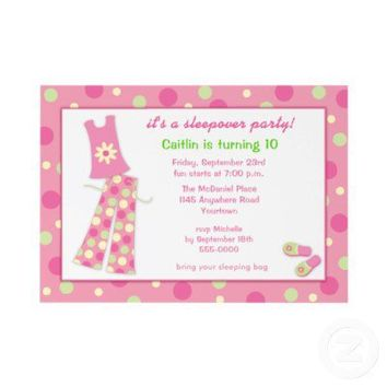 Sleepover Birthday Party Invitation from Zazzle.com