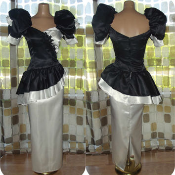 Vintage 80s WILD Black & White Peplum Party Dress Full Length Bombshell Avant-Garde Prom Gown