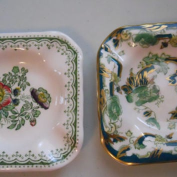 Vintage Mason's Ironstone Ashtrays - English Pottery, Paynsley Patt and Chartreuse