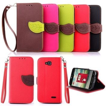 For LG L70/D320 L90/D405 Luxury Leather Cover Flip Wallet Phone Case With Leaves Buckle And Lanyard Mobile Phone Shell