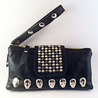 Faux (Vegan)  Leather Skull Rivets Studs Clutch Wallet Purse with Carry Strap
