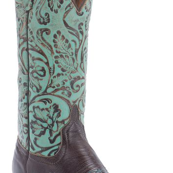 Anderson Bean® Ladies Brown Busted Calf w/ Turquoise Antique Tool Top Square Toe Western Boot