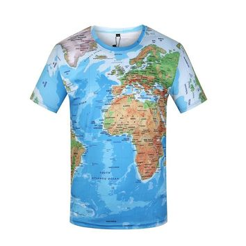 KYKU Unisex 3D T Shirt Men World Map T-Shirt Funny Summer Tops Graphic Tee