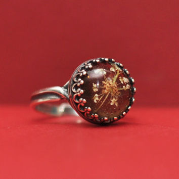 Brown Queen Anne's Lace Antique Silver Ring, Queen Anne's Lace Resin Cabochon Crown Ring
