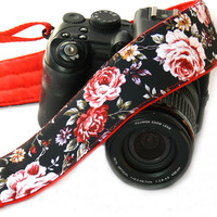 Red Roses Camera Strap. Canon Nikon Camera Strap. Photo Camera Accessories
