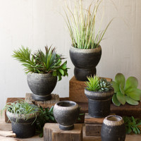 Set of 6 Clay Planters - Black