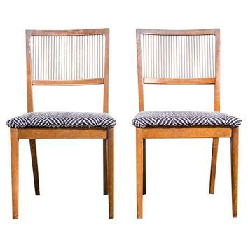 Pre-owned Chevron Knit Mid-Century Chairs - A Pair