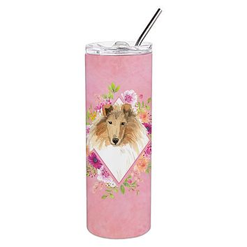 Collie Pink Flowers Double Walled Stainless Steel 20 oz Skinny Tumbler CK4216TBL20