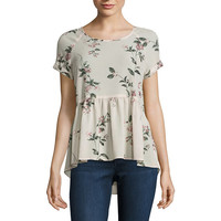 Rewind Short Sleeve Round Neck Georgette Blouse-Juniors - JCPenney
