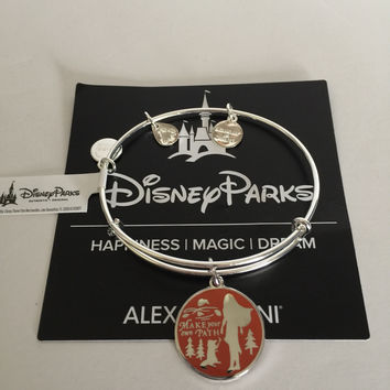 Disney Alex and Ani Pocahontas Make Your Own Path Bangle Silver Finish New