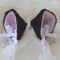 Black and white clip on cat ears with earrings - neko lolita french maid cosplay costume - kitten play accessories