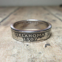Oklahoma State Quarter Coin Ring Size 5.5 to 12