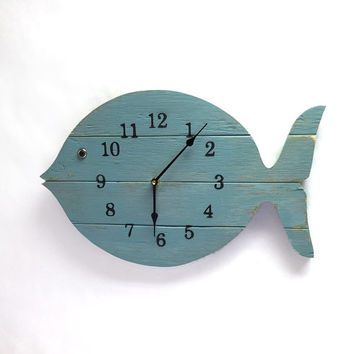 "Painted Fish Clock - 16"" wide wall clock - lake house decor clock - beach house clock - Nautical Theme, Beach Cottage or Coastal Decor."