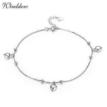 925 Sterling SIlver Box Chain Peach Heart Charm Foot Jewelry Anklet for Women Girls Leg bracelet cheville enkelbandje halhal