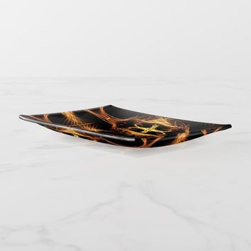 Glold Black Pattern Trinket Trays
