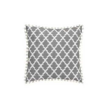 Bh&G Tangier Contemporary Ikat Pillow With Decorative Pompoms Grey