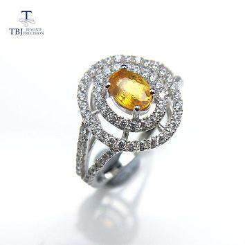 Natural yellow  Sapphire Oval Cut 4*6mm 0.5ct Gemstone Ring