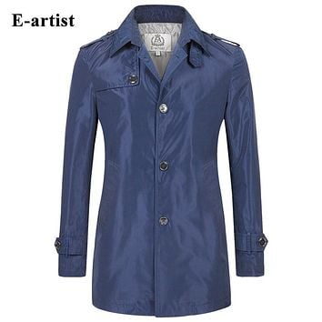 Long Trench Coat Men Slim Fit Casual Windbreaker Jackets Outerwear Overcoats For Spring