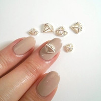2 Pcs Silver Diamond Metallic 3D Nail Art Charm / Decorations 6mm