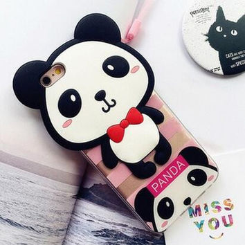 Cute panda soft silica gel phone case for iPhone 7 7 plus iphone 5 5s SE 6 6s 6 plus 6s plus + Nice gift box 080901