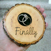 Rustic Wedding / Ring Bearer / Wedding Pillow / Wood Ring Holder