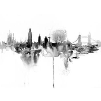 London city abstract ART PRINT 16X23 original watercolor painting illustration home wall decor  modern contemporary reproduction poster