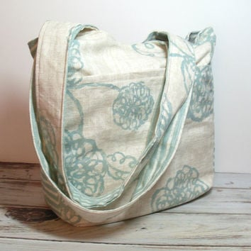 Green Floral Purse - Over the Shoulder - Bag - Shoulder Purse - Everyday Bag - Casual Purse - Womens Purse - Summer Bag - Medium Size Purse