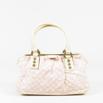 "Louis Vuitton Rose Pink ""Mini Lin"" Canvas ""Trapeze PM"" Bag"
