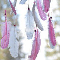 Pink Dreamcatcher Mobile, Feather Baby Mobile, Pink  Nursery Decor,Turquoise stone, Feather Decor.