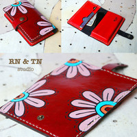 Hand Stitched BifoldWallet leather iPhone 5 / 4s iPod Touch case - Flower in red