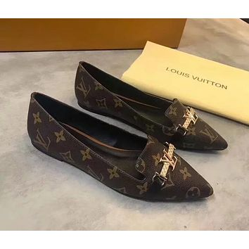 LV 2019 new tide brand women's pointed fashion printed flat shoes Coffee