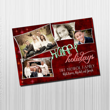 Custom Photo Holiday Card - Digital File Photo Holiday Card - Frames and Swirls