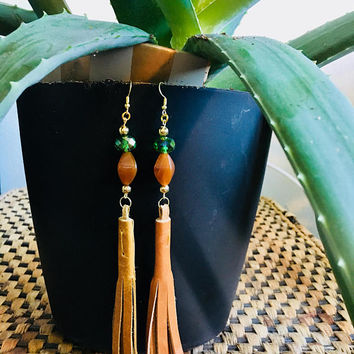 Tan Leather Fringe Earrings with Tan & Green Beads | Leather Jewelry | Valentine's Day Gift | Gifts for Her | Leather Fringe Earrings