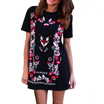 Women Floral Printed Short Sleeve Casual Loose Short European style ladies summer dress
