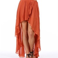Rust Hi Low Hem Wrap Skirt