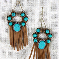 Turquoise Studded Fringe Suede Earrings