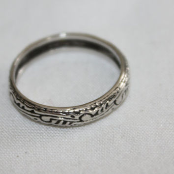 Embossed Ring Engagement Sterling Band 1960s Jewelry