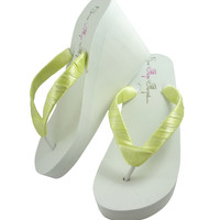 White High Wedge Satin Flip Flops for the Wedding Sandals