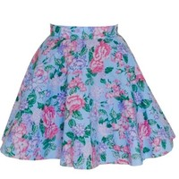 Blue Floral Full Circle Fifties Style Skirt | Style Icon`s Closet