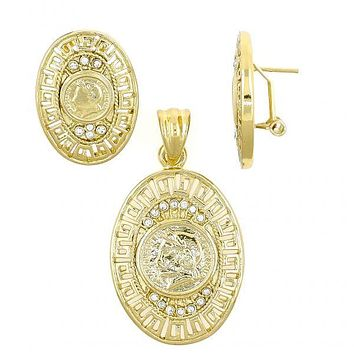 Gold Layered 10.59.0244 Earring and Pendant Adult Set, Greek Key Design, with White Crystal, Polished Finish, Gold Tone