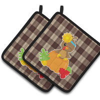 Thanksgiving Baby Turkey Pair of Pot Holders BB7113PTHD